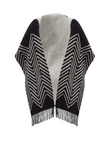 Matchesfashion.com Valentino Garavani - Chevron-jacquard Wool-blend Hooded Scarf - Womens - Black White