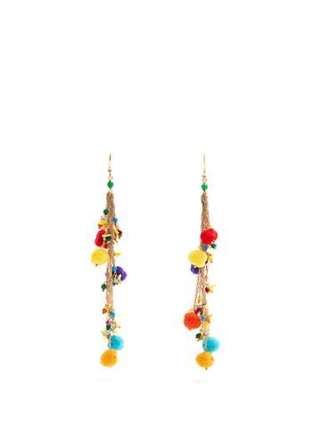 Rosantica By Michela Panero Cancun Multi-stone And Pompom Earrings