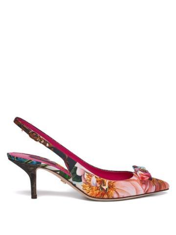 Matchesfashion.com Dolce & Gabbana - Patchwork Point-toe Slingback Pumps - Womens - Multi