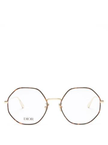 Matchesfashion.com Dior - Gemdioro Round Metal Glasses - Womens - Gold