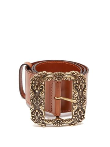 Matchesfashion.com Etro - Engraved Buckled Leather Belt - Womens - Tan