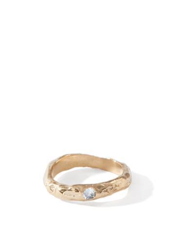 Matchesfashion.com Anita Berisha - March Birthstone & 14kt Gold-plated Ring - Womens - Blue