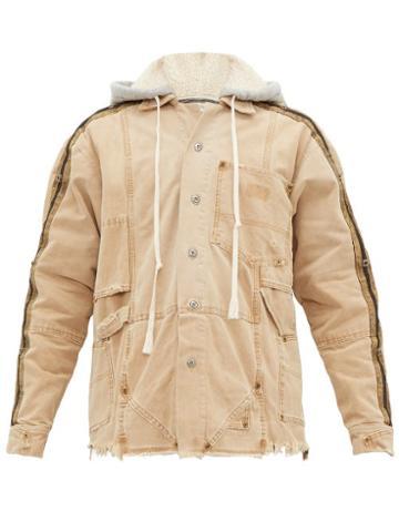 Matchesfashion.com Greg Lauren - Distressed Canvas Hooded Work Jacket - Mens - Brown
