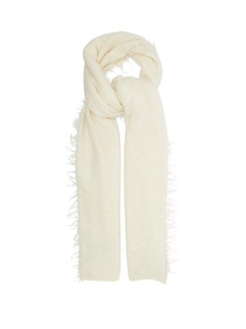 Matchesfashion.com Lauren Manoogian - Fringed Baby Alpaca Scarf - Womens - White