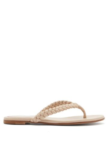 Matchesfashion.com Gianvito Rossi - Braided Leather Flip Flops - Womens - Beige