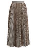 Msgm Pleated Gingham-twill Skirt