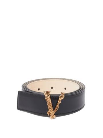 Matchesfashion.com Versace - V-buckle Leather Belt - Womens - Black