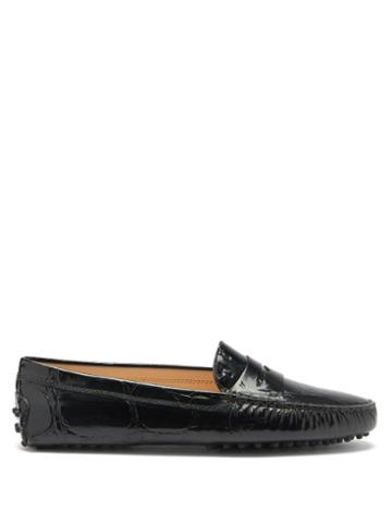 Matchesfashion.com Tod's - Crocodile-effect Leather Penny Loafers - Womens - Black