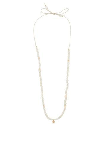 Matchesfashion.com Musa By Bobbie - Diamond & 14kt Gold-charm Beaded Necklace - Womens - White