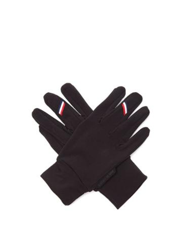 Matchesfashion.com Caf Du Cycliste - Tricolour-stripe Thermal-jersey Cycling Gloves - Womens - Black
