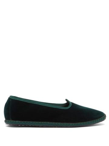 Matchesfashion.com Vibi Venezia - Whipstitched Velvet Slippers - Womens - Dark Green