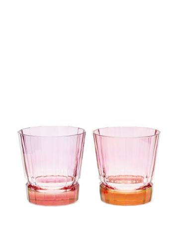 Matchesfashion.com Luisa Beccaria - Set Of Two Duccio Gradient Tumbler Glasses - Orange Multi