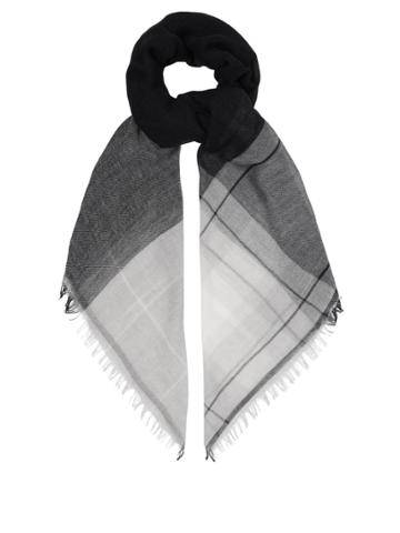 Max Mara Wool And Cotton-blend Checked Scarf