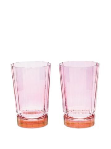 Matchesfashion.com Luisa Beccaria - Set Of Two Duccio Gradient Highball Glasses - Orange Multi