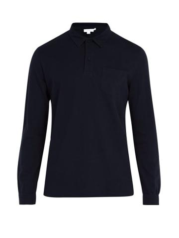 Matchesfashion.com Sunspel - Riviera Long Sleeved Cotton Polo Shirt - Mens - Navy