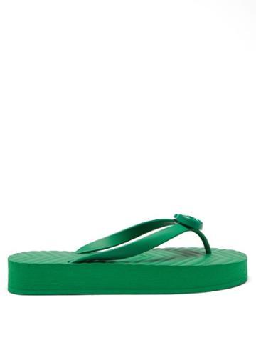 Gucci - Pascar Gg-plaque Rubber Flip Flops - Womens - Green
