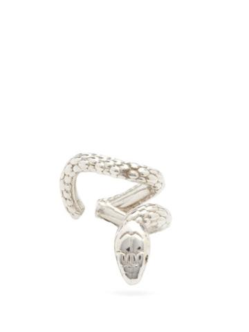 Matchesfashion.com Alan Crocetti - Nashash Tsavorite & Sterling-silver Snake Ear Cuff - Mens - Silver
