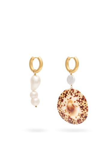 Matchesfashion.com Timeless Pearly - Mismatched Freshwater Pearl & Shell Drop Earrings - Womens - Pearl