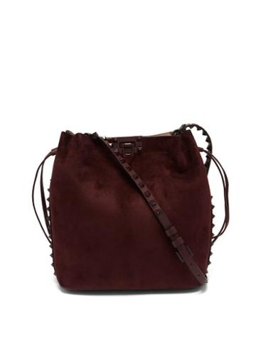 Matchesfashion.com Valentino Garavani - Rockstud Suede Messenger Bag - Womens - Burgundy