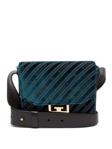 Matchesfashion.com Givenchy - Eden Small Monogram Velvet Messenger Bag - Womens - Blue
