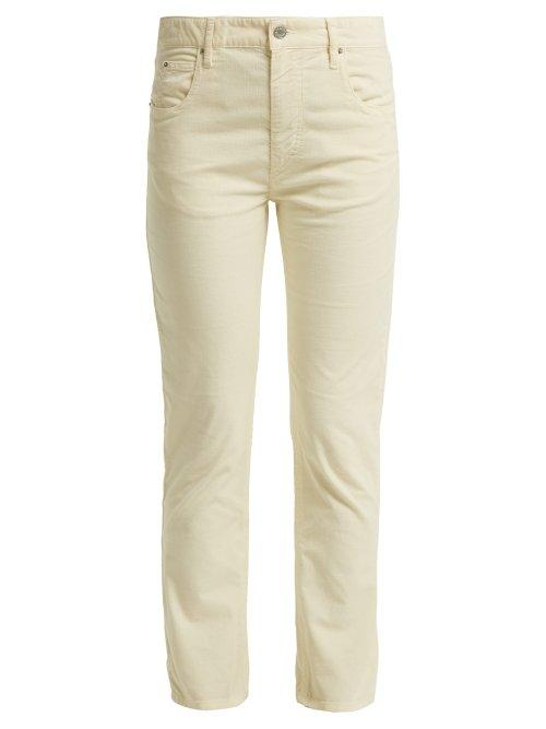 Matchesfashion.com Isabel Marant Toile - Aliff Cotton Blend Girlfriend Trousers - Womens - Cream