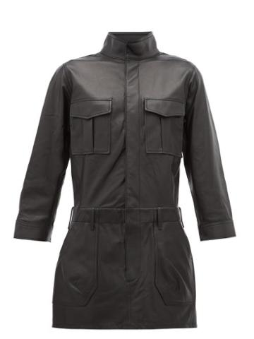Matchesfashion.com Frame - Leather Cargo Shirtdress - Womens - Black