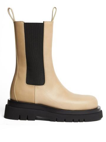 Matchesfashion.com Bottega Veneta - Bv Tire Leather Boots - Womens - Light Beige