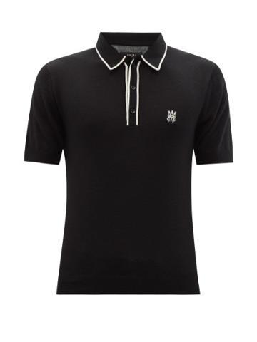 Matchesfashion.com Amiri - Skeletal Logo-intarsia Cashmere-blend Polo Shirt - Mens - Black