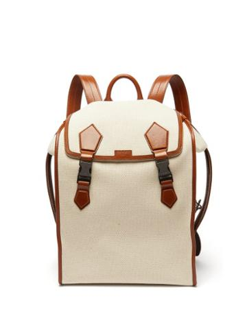 Matchesfashion.com Dolce & Gabbana - Leather-trimmed Canvas Backpack - Mens - Beige