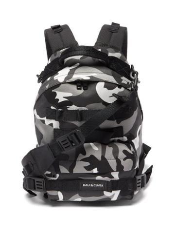 Balenciaga - Camouflage-print Backpack - Mens - Black Multi