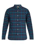Matchesfashion.com Burberry - George Checked Cotton Blend Shirt - Mens - Navy Multi