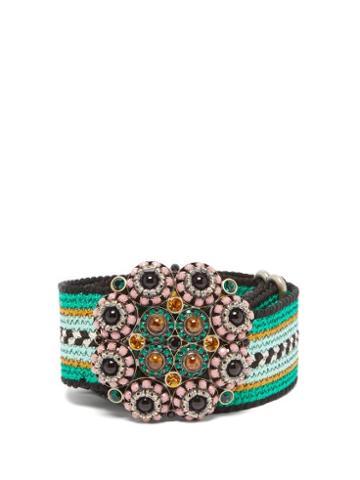 Matchesfashion.com Etro - Crystal Embellished Woven Belt - Womens - Green