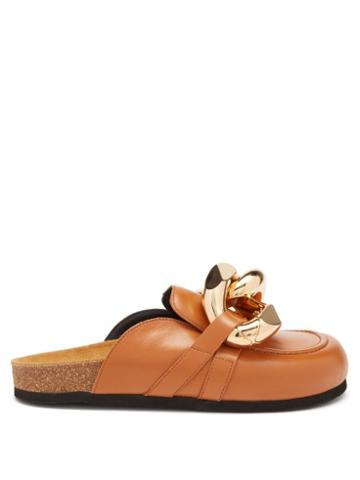 Jw Anderson - Chain-embellished Leather Mules - Womens - Tan