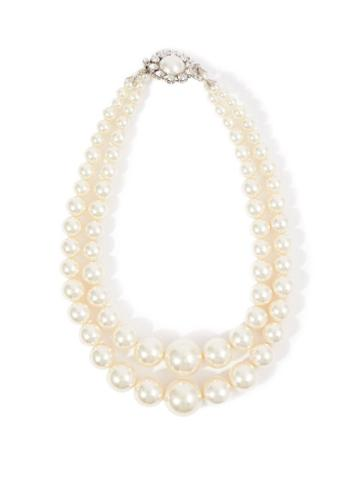 Matchesfashion.com Alessandra Rich - Crystal-embellished Faux-pearl Necklace - Womens - Pearl