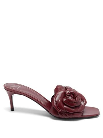 Matchesfashion.com Valentino Garavani - Atelier Petal-effect Leather Mules - Womens - Burgundy