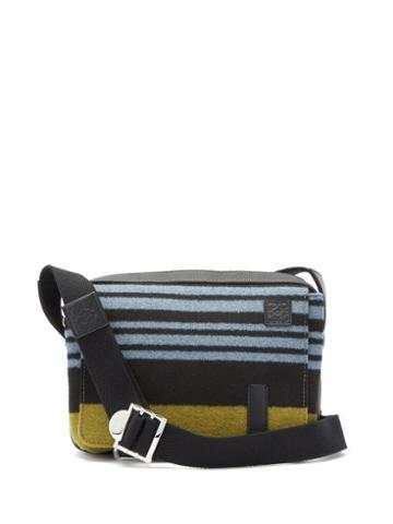 Matchesfashion.com Loewe - Striped Leather-trimmed Messenger Bag - Mens - Black Blue