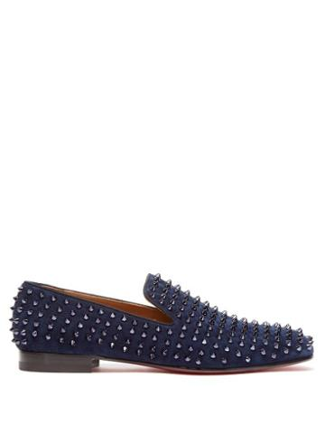 Matchesfashion.com Christian Louboutin - Rollerboy Velvet Studded Loafers - Mens - Blue