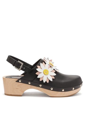 Fabrizio Viti - Carly Floral-appliqu Leather Slingback Clogs - Womens - Black