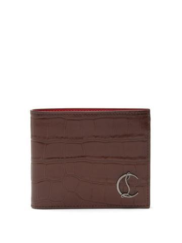 Christian Louboutin - Coolcard Croc-effect Leather Bi-fold Wallet - Mens - Brown