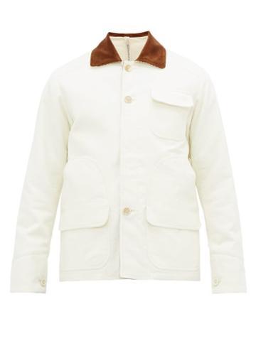 Matchesfashion.com Aldo Maria Camillo - Corduroy Collar Brushed Cotton Utility Jacket - Mens - White
