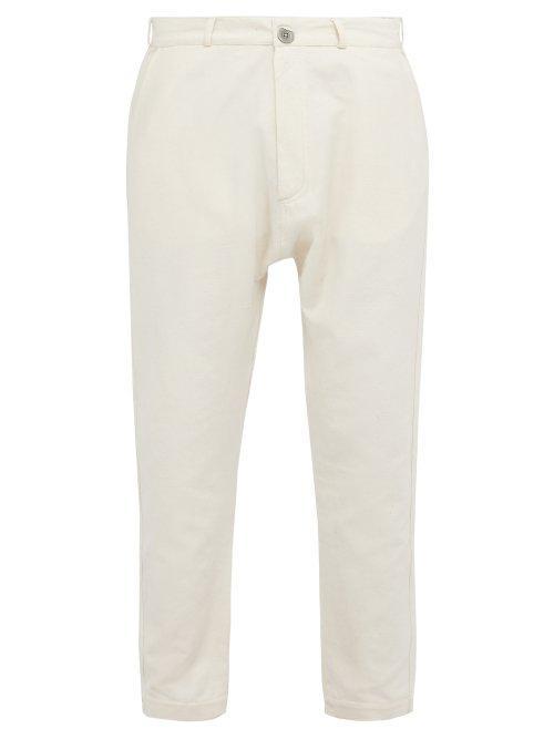Matchesfashion.com Marrakshi Life - Tapered Leg Cotton Blend Trousers - Mens - Cream