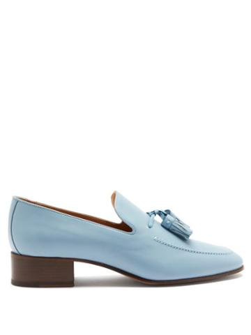 Matchesfashion.com Loewe - Pompom Tasselled Leather Loafers - Womens - Light Blue