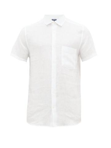 Matchesfashion.com Frescobol Carioca - Cutaway Collar Linen Shirt - Mens - White