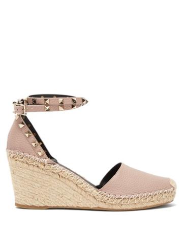 Matchesfashion.com Valentino - Rockstud Leather Espadrille Wedges - Womens - Nude