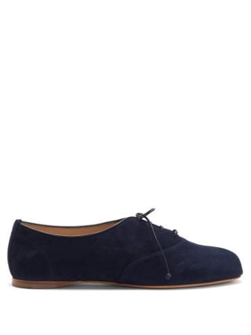 Matchesfashion.com Gabriela Hearst - Maya Square-toe Suede Oxford Shoes - Womens - Navy