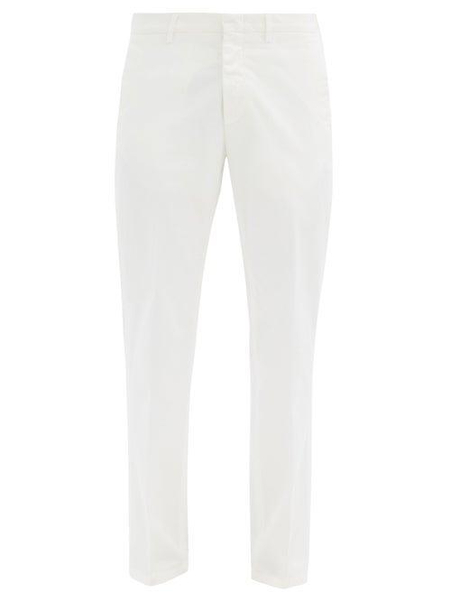 Matchesfashion.com Dunhill - Slim-leg Cotton-blend Twill Chinos - Mens - Cream