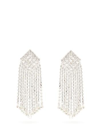 Matchesfashion.com Alessandra Rich - Crystal Cascade Square Clip Earrings - Womens - Crystal