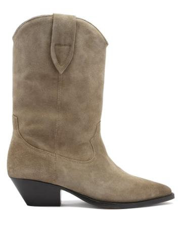 Matchesfashion.com Isabel Marant - Duerto Suede Western Boots - Womens - Beige