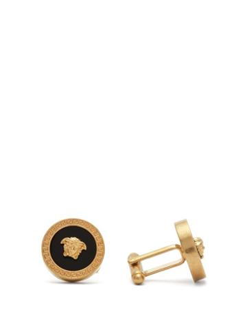 Matchesfashion.com Versace - Greek Key & Medusa Head Cufflinks - Mens - Gold