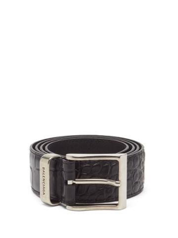 Balenciaga - Croc-embossed Leather Belt - Mens - Black